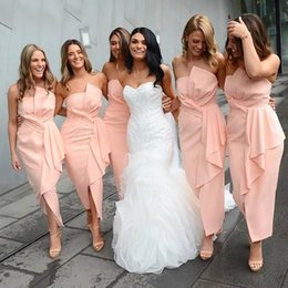 StrapleSS Silk gown online shopping - 2019 Pleats Ruffles Tea Length Pink Bridesmaids Dresses Strapless Cheap Maid of Honor Gowns For Summer Wedding Guests Plus Size BM0363