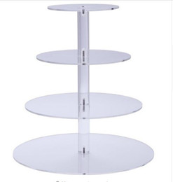 $enCountryForm.capitalKeyWord Australia - 4 Four Tier Crystal Clear Acrylic Round Wedding Cake Stand Cupcake Tree Cupcakes Dessert Tower Cupcake Stand for Party