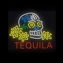 "$enCountryForm.capitalKeyWord Australia - Tequila Wine Skull Flower Neon Sign Handmade Real Glass Tube Beer Bar Motel Store Restaurant Home Wall Decoration Display Neon Signs 24""X20"""