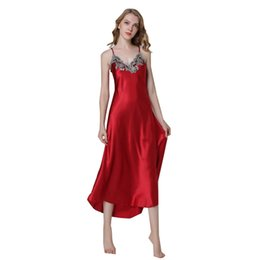Ladies siLk nightgowns Long online shopping - Ladies Sexy Silk Satin Nightgown Sleeveless Nighties Long Nightdress V neck Sleep Shirt Summer Night Dress Nightwear For Women Y19051801