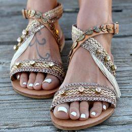 $enCountryForm.capitalKeyWord Australia - LZJ vintage woman sandals girls summer shoes flats rome tassel srystal sandalias mujer beach lady casual chaussures femme ete