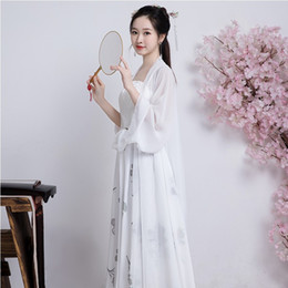 Sexy Dance Clothes Australia - Summer sexy white Hanfu fairy princess dress girls cosplay party dresses chinese folk dance costumes tang dynasty chinese ancient clothing