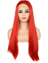 Discount long straight red hair - Fast Shipping Red Color Natural Looking Lace Front Wigs Long Straight Heat Resistant Synthetic Hair Cosplay Wigs Free Pa