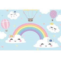 Scenic wallpaper online shopping - Laeacco Baby Cartoon Rainbow Backdrops Birthday Party Wallpaper Poster Child Portrait Photographic Backgrounds For Photo Studio