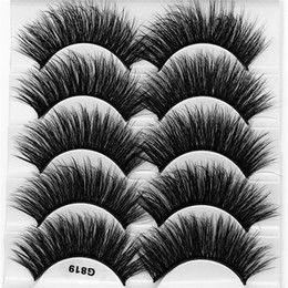 styles c Australia - G819 style 5 IN 1 3D Faux Mink Hair False Eyelashes 20mm Natural Long Style Handmade lashes-Extension thick Fake Eyelash