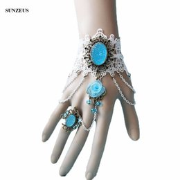 Bride Bracelet rings online shopping - Beautiful Lace Bride Gloves With Ice Blue Beads Flower Wedding Gloves New Ring Bracelet Accessories