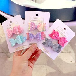 little hair clips Australia - 30pcs set Cute Mini Little Girls Hair Bows Clips Double Layer Glitter Kids Hairpins Sequins Princess Headdress Accessories