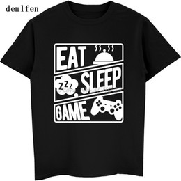 eat game 2019 - Gaming - Eat , Sleep , Game , Repeat Print T-shirt Gamers T Shirt Summer Cotton Short Sleeve Shirt Hip Hop Tees Camisa M