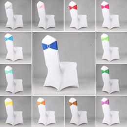 Ingrosso Colorful Stretch sedia posteriore del cerchio dell'arco libero per Wedding Bowknot Festival elastico banchetti Forniture copertura decorativo Party Hotel 16 colori