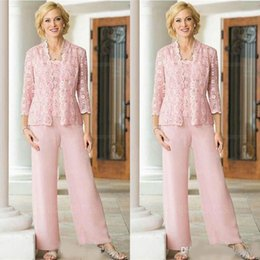 women summer suit three pieces Australia - Pink Lace Chiffon Three Pieces Mother Of the Bride Pant Suit with Long Sleeve Jacket 2019 Plus Size Women Prom Party Pantsuit