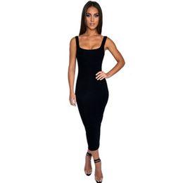 $enCountryForm.capitalKeyWord Australia - Sexy Bodycon Women Dress Solid Color Slim Tank Long Dress Elegant Square Collar Inner Cloth Vestidos Y19071001