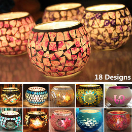 Metal Lanterns For Decorations Australia - Circular Mosaic Glass Candlestick Holder Hot Home Decoration Lantern Candle Holders For Party Wedding Christmas Not Include Candle