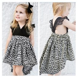 baby girls black dress set Australia - INS Fly Sleeve Baby Rompers Summer Girl Dresses Black Leopard Print Summer Girls Sisters Kids Two Piece Set Dress Hair Band Hairpin E21902