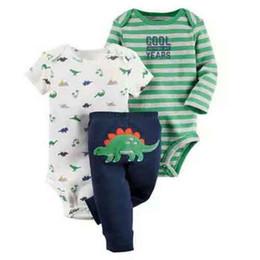 Long Suits For Girls UK - Cartoon Dinosaur Long Sleeve Bodysuit+pants For Newborn Baby Boy Girl Clothes Set Cotton New Born Outfit Infant Babies Suit Y19061303