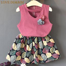 Girl Red Love Shirt Australia - Love Dd&mm Girls Summer New Children's Wear Girls' Pure Color Corsage T-shirts + Cotton Short Skirts Sets Q190523