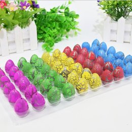 plastic dinosaur eggs Canada - 60pcs box Childrens Colorful Cracked Egg Add Water Small Size Novelty Dinosaur Incubatable Egg Toy Kids Best Sale Funny Toy