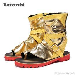 Verão Rock Gladiador Mens Sapatos de Ouro Sandálias de Couro dos homens Roma Sandalias Mujer 2018 Sapatos de Tornozelo Sandália Homens Zip, Tamanho grande US12 venda por atacado