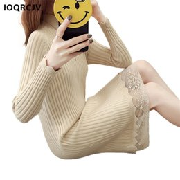 cotton acrylic Canada - 2018 Spring Autumn Long Knitted Sweater Dress Women Cotton Slim Bodycon Sexy Lace Turtleneck Dress Pullover Female IOQRCJV F69