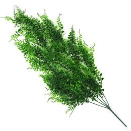 plastic green leaf vines Canada - 82cm 5 Forks Artificial Plant Vines Wall Hanging Green Plant Crafts Fake Leaves Plastic Orchid Rattan Home Garden Decoration