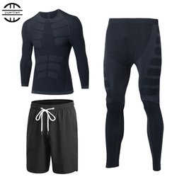 tight tracksuits Australia - Yuerlian Quick Dry 3 Pcs Compression Tights Tracksuit Men Train Fitness Long Sleeve Shirt Pant O-Neck Gym Running Sport Suit