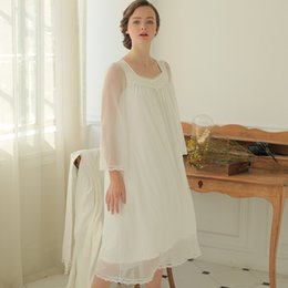 New Spring and Summer Lace Cotton Princess Sleepwear Women's Sexy Beautiful Goddess Long Nightgown Night Dress Vestidos
