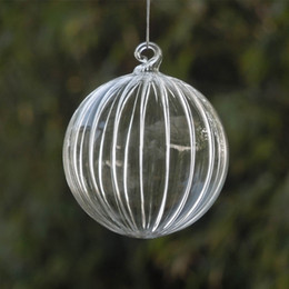 Discount glass gift packing - Big Packing Christmas Tree Ornament Pendant Striped Glass Ball Christmas Day Glass Gifts Hanging Decorative Globe