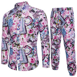 Man Clothes Australia - Flower Printed Men Clothing New Fashion Male Slim Tracksuits Gentleman Floral Vacation Suit 5XL Plus Size Pants And Shirts Set