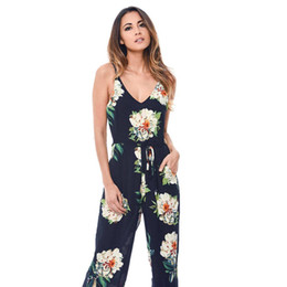 $enCountryForm.capitalKeyWord UK - Summer fashion Women sleeveless jumpsuit V-Neck Floral Print Bohemian style long playsuit daily casual cotton blend romper