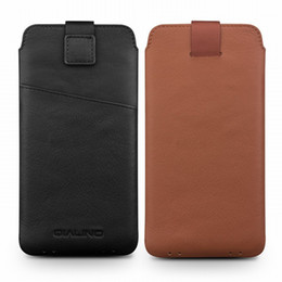 $enCountryForm.capitalKeyWord Australia - 2018 Genuine Leather Pull Tab Sleeve Pouch Bag Cover Natural Cowhide Phone Case For Iphone X Xs Max Xr Original Qialino Brand T190710