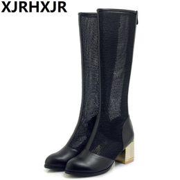 2019 Corium Women Spring Autumn Knee High Boots Cutout Thick Heel  Breathable Round Toe Big Size 33-43 Fashion Mesh Boots Gauze 3fdfaf47de15