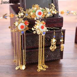 Vintage Woman Costume Australia - JaneVini Vintage Chinese Style Bridal Headdress Costume Gold Butterfly Hairpin Wedding Crown with Earring Women Hair Accessories