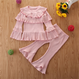butterfly toddler baby clothing NZ - Baby Girl Clothes 2019 Spring Autumn New Two Pieces Sets Kids Toddler Cute Pink Long Sleeve Top And Flared Pants Ruffles Sets Girls