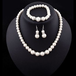Artificial Chains Wholesalers Australia - Women Faux pearl Jewelry sets wedding fake Artificial pearl beads chains Necklaces bracelet Earrings For bride engagement Jewelry Gift