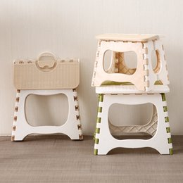 Wholesale Stools Chairs Australia - Plastic Stool Folding Bench Portable Chair Thicken Step Home Furniture Child Convenient Shower Room Non Slip Colors Mix 9 6bs2f1