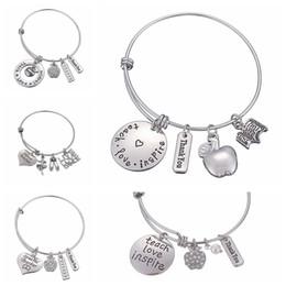 $enCountryForm.capitalKeyWord NZ - Fashion Teachers' Day Gift alloy letter bracelet Charms pendant Bangle Love Inspire Teach Bracelets high quality