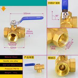 "Medium Degree NZ - 3 Way L-port Brass Ball Valve 3 4"" BSP Female Thread DN20 90 Degree Rotate For Water ,Gas,Steam,Corrosion,Acid and Alkali"