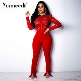 9b8b55acd6f6 Yooneedi 2019 Spring New Arrival Sexy Women Jumpsuits 2 Color Solid  Embroidery O-neck Full Sleeve Night Club Rompers Y-5082