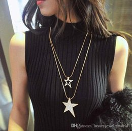 long snake chain Australia - Luxury Designer Long Necklace Double Layer Star Sweater Chain Necklace with Crystal Jewelry Snake Chains