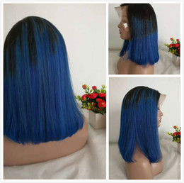 Discount ombre hair black blue - Blue Ombre Lace Front Wig Pre Plucked Glueless Bob Wig Colored 1B Blue Malaysian Straight Short Human Hair Full Lace Wig