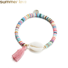 Trendy White Shell Elastic Armband Böhmischen Bunte Klare Stein Polymer Clay Perlen Armbänder für Frauen Urlaub Muschel Strand Schmuck Acc
