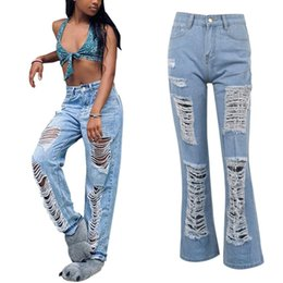 bleach boots Canada - Womens Straight Hole Bleached Pocket High Waist Jeans Casual Denim Pants mujer Jeans Woman Straight Denim Sexy Jeans For Women