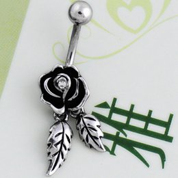 Punk Rings Australia - New Feathers Wing Dangle Rose Flower Navel Belly Crystal Button Bar Barbell Ring Body Piercing Stainless Steel Jewelry Gift Punk