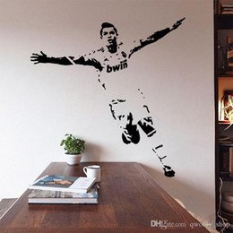 football murals Canada - New Vinyl Removable PVC Art Mural Football Cristiano Ronaldo Wall Stickers For Kids Children Room Decor