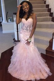 prom dresses corsets sleeves NZ - Gorgeous Black Girls Mermaid Prom Dresses Sweetheart Tiered Ruffles Corset Evening Gowns Elegant Graduation Holiday Party Dress Women Wear