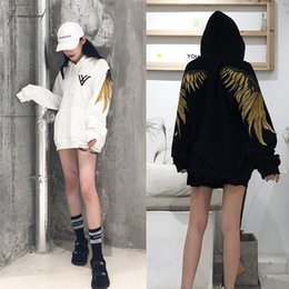 woman loose wool hat Australia - hip Hop Gold Thread Embroidery Wings More Add Wool Fleece Single Men And Women Lovers Sets Loose Bf Hoodie Jacket