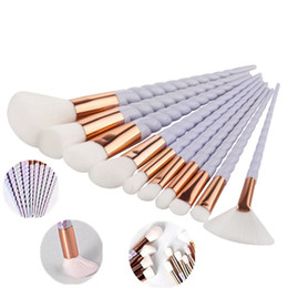 Chinese  10 Pcs Unicorn spiral Facial Foundation Contour Cosmetic Eyelash Eye Shadow Eyeliner Lip Brush Makeup Brushes Set pinceaux de maquillage manufacturers