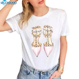 $enCountryForm.capitalKeyWord NZ - Fashion Watercolor Illustration High Heels Shoes T-shirt Women Printed T Shirts O-neck Soft Short Sleeve Casual White Tops S1730 Y19051301