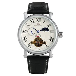 Classic Leather Watches For Men Australia - Classic Roman Numerals Dial Wristwatch Tourbillon Skeleton Black Leather Strap Watch for Men Casual Automatic Mechanical Watches for Male