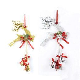 small silver bells Australia - High Quality Gold Silver Rudolf Pendant Christmas Wall Tree Merry Christmas Letter Knot With Small Bells Home Pendant VE