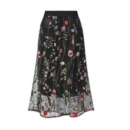 0ab5700f2 Summer Elastic Waist Plus Size 5xl Bohemian Floral Embroidery Midi Skirt  Office Lady Flower Lace Mesh Women Black Long Skirts J190619